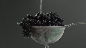 I videoen ser vi druvor i en sikt, vatten som uppifrån faller i en stråle, då blir strålen mindre, grått lager videofilmer