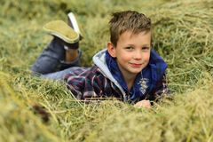 I am a village boy. Little boy in village. Little boy enjoy village life in countryside. Small child lie in hay in farm. Barn. A wonderful way to relax stock photography