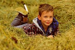 I am a village boy. Little boy in village. Little boy enjoy village life in countryside. Small child lie in hay in farm. Barn. A wonderful way to relax stock photos