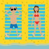 I villeggianti prendono il sole sulla spiaggia illustrazione vettoriale