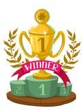 I vincitori della tazza con un alloro si avvolgono sul podio Fotografia Stock