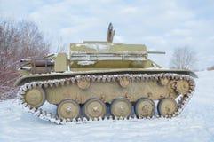 I vinter t-70 av det andra världskriget, med ett vippat på lock Arkivbilder