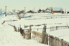 I vintern i byn Arkivbild