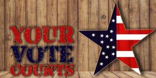 I vostri conteggi di voto, elezione trimestrale, testo su fondo di legno fotografie stock libere da diritti