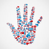I vote in USA elections icons hand Royalty Free Stock Photo