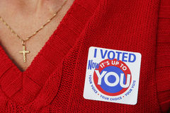 I voted 1. Woman voted Stock Photos