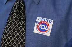 I voted 2. Man voting Stock Images