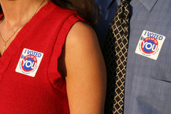 I voted 3. Man and woman voted Royalty Free Stock Photo