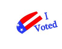 I Voted. Image of a Symbol to Encourage Vote in America Stock Photos