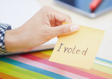 I voted text on adhesive note Stock Photo