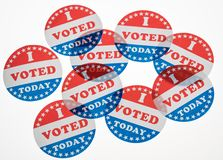 I Voted Today paper stickers on white background. I Voted Today stickers ready for voters in the US elections isolated on white background stock photo