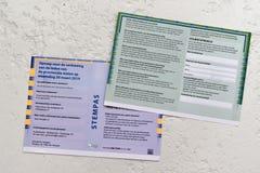 I voto-passaggi olandesi o la convocazione per l'elezione sul 20 marzo 2019 fotografia stock libera da diritti