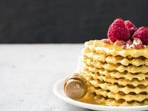 I wafer, biscotti modellati hanno piovigginato con miele con il lampone Fotografia Stock Libera da Diritti