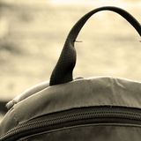 I wait for new travel!. The backpack costs on the railway Royalty Free Stock Photos