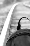 I wait for new travel!. The backpack costs on the railway Stock Photos