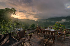 I waiting for sunrise from balcony at Chiang dao mountain , Chiang mai , Thailand Royalty Free Stock Photography
