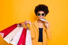 Free I Want Buy All. Portrait Of Crazy Brunette Curly Hair Lady Go Shopping In Center Hold Bags Bite Plastic Card Spend Money Royalty Free Stock Images - 160638609