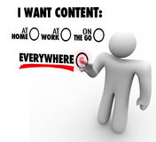 I Want Content Everywhere At Home Work On Go Customer Choice Royalty Free Stock Image
