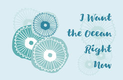 I want the ocean right now, greeting card with Jellyfish Royalty Free Stock Images