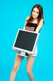 I want this one.. Young teen carries a huge LCD panel Stock Photos