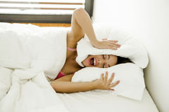 I want stay on bed Royalty Free Stock Photos