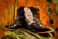 I Want to Be a Cowgirl. Still life of customized cowgirl boots with hawk feather Royalty Free Stock Photos