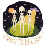 I want to believe vector poster with aliens on the hill and UFO in the night Royalty Free Stock Photo