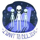 I want to believe vector poster (background and card) with aliens on the hill and UFO in the night Royalty Free Stock Photography