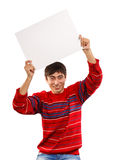 I want to show you. Man in red pullover shows presentation isolated on white background Royalty Free Stock Image