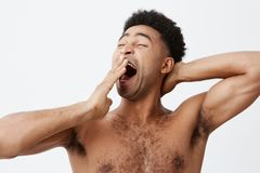 I want to sleep. Close up portrait of handsome athletic young afro american guy with curly hair and naked torso clothing royalty free stock image