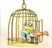 I want to stay in my cage. Man remains clinging to a bird cage while another tries to pull him towards freedom stock illustration