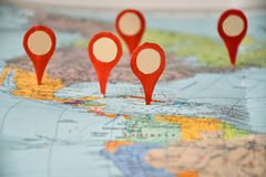 I want to visit, geo-location symbols on a map of North America and the Caribbean. royalty free stock photos