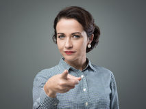 I want you. Confident woman poiting her finger to camera, I want you concept royalty free stock photography