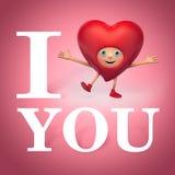 I want you. I love you. Funny heart cartoon Stock Photography