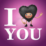 I want you. I love you. Funny heart cartoon Royalty Free Stock Images