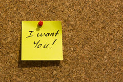 I want you post-it note Royalty Free Stock Images
