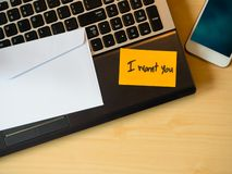 I want you to be message in the letter  on the table stock images