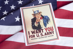 I want you - Uncle Sam. With American Flag background royalty free stock photo