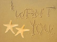 I Want You Written in Sand Royalty Free Stock Photos