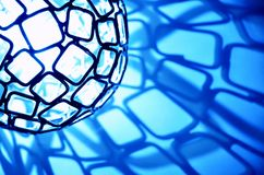 Blue light sphere with squares. stock images