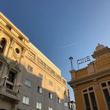 Cines Ideal in Madrid, at the sunrise royalty free stock images