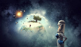 I will become astronaut and fly to space . Mixed media . Mixed media Stock Photo