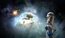 I will become astronaut and fly to space . Mixed media . Mixed media Royalty Free Stock Images