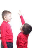 I will grow like you. Boy measures his height lag isolated over white Stock Photography