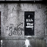 I will kill you Graffiti. Graffiti aken at an abandoned building near Dundee, Scotland from an old abandoned mental hospital Stock Photography