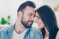 I will love you forever, you are the only one for me! Close up p. Hoto of two sensual sincere loving guy and women wearing casual jeans denim clothes, they are stock images