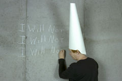 I WILL NOT, Woman Wearing Dunce Cap Stock Photography