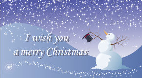 I wish you a merry Christmas. Vector illustration - Easy to edit - A funny snowman, under the snow, is happy for Christmas' celebration Stock Photos