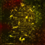 I wish you a Merry Christmas lettering. Gold. Congratulations card. Vector illustration royalty free illustration