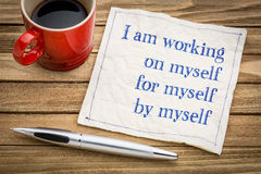 I am working on myself - napkin concept Royalty Free Stock Photos